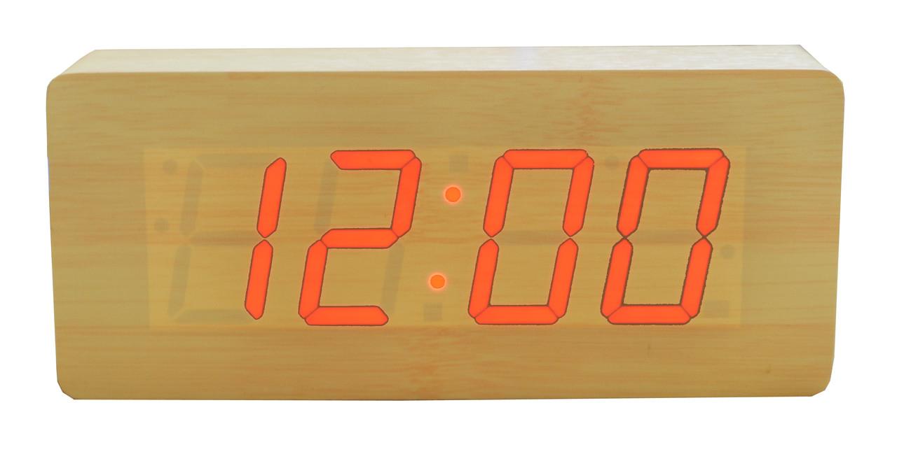 Часы VST 865 светлое дерево (красная подсветка)