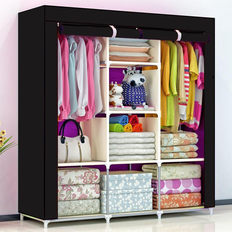 Складной тканевый шкаф, шкаф для одежды Storage Wardrobe 88130 на 3 секции Black