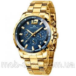 Чоловічий оригінальний наручний годинник Megalith 8048M Gold-Blue