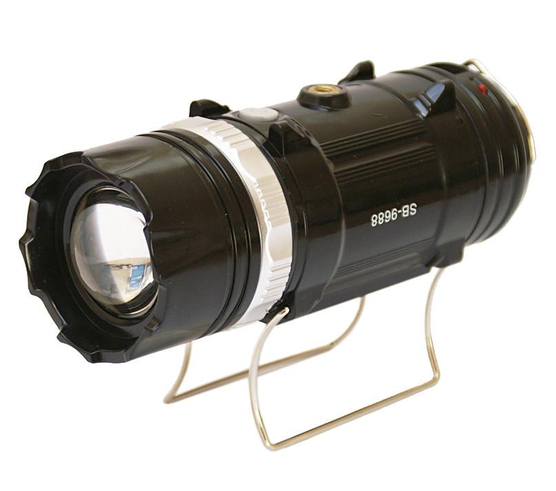 Кемпинговая LED лампа SB 9688 c фонариком и солнечной панелью Black