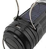 Аккумуляторная кемпинговая LED лампа Sheng Ba SB 9699 c фонариком и солнечной панелью Black, фото 8