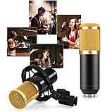 Студійний мікрофон Music D. J. M800 зі стійкою і вітрозахистом Black/Gold, фото 3