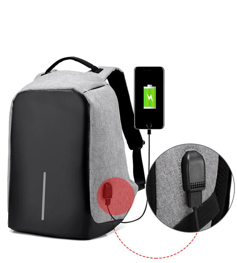 """Рюкзак АНТИВОР Bobby 17"""" c защитой от карманников и с USB зарядным устройством серый"""