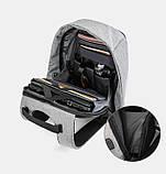 """Рюкзак АНТИВОР Bobby 17"""" c защитой от карманников и с USB зарядным устройством серый, фото 2"""