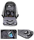 """Рюкзак АНТИВОР Bobby 17"""" c защитой от карманников и с USB зарядным устройством серый, фото 3"""
