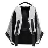 """Рюкзак АНТИВОР Bobby 17"""" c защитой от карманников и с USB зарядным устройством серый, фото 5"""