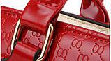 Стильная женская сумка Valenkuci красный с косметичкой и брелком, фото 3
