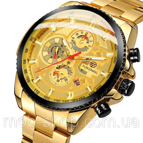 Оригинальные наручные часы Forsining 6909 Gold-Black годовая гарантия на механизм