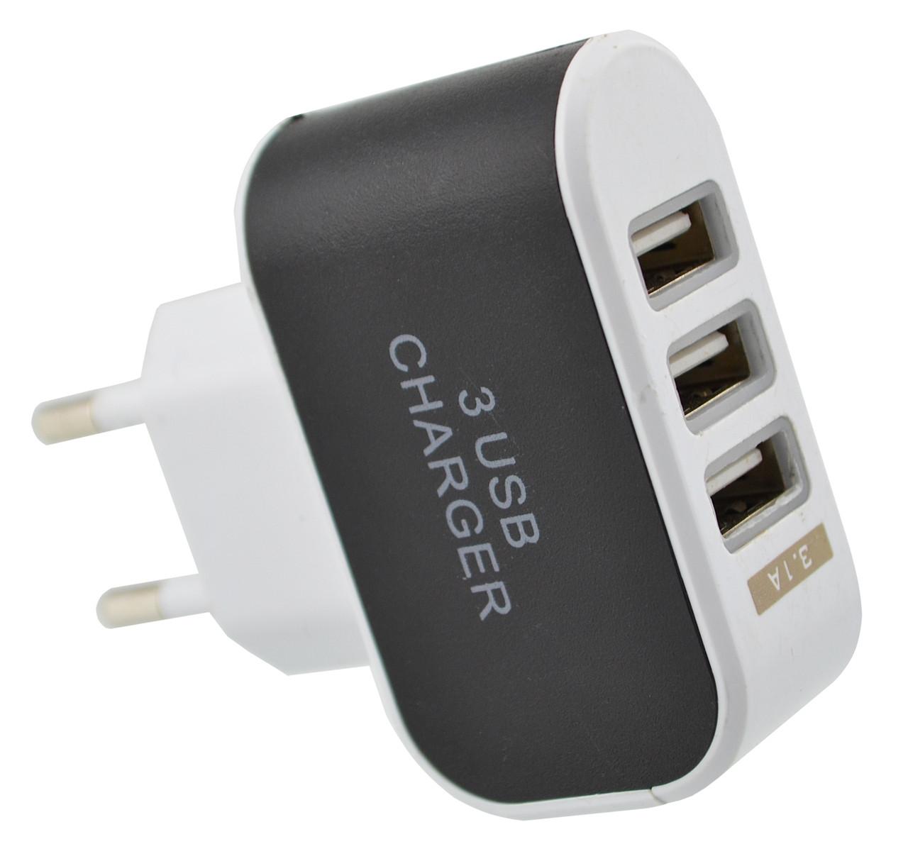 Блок питания на 3 USB зарядное адаптер 3.1A (2757)