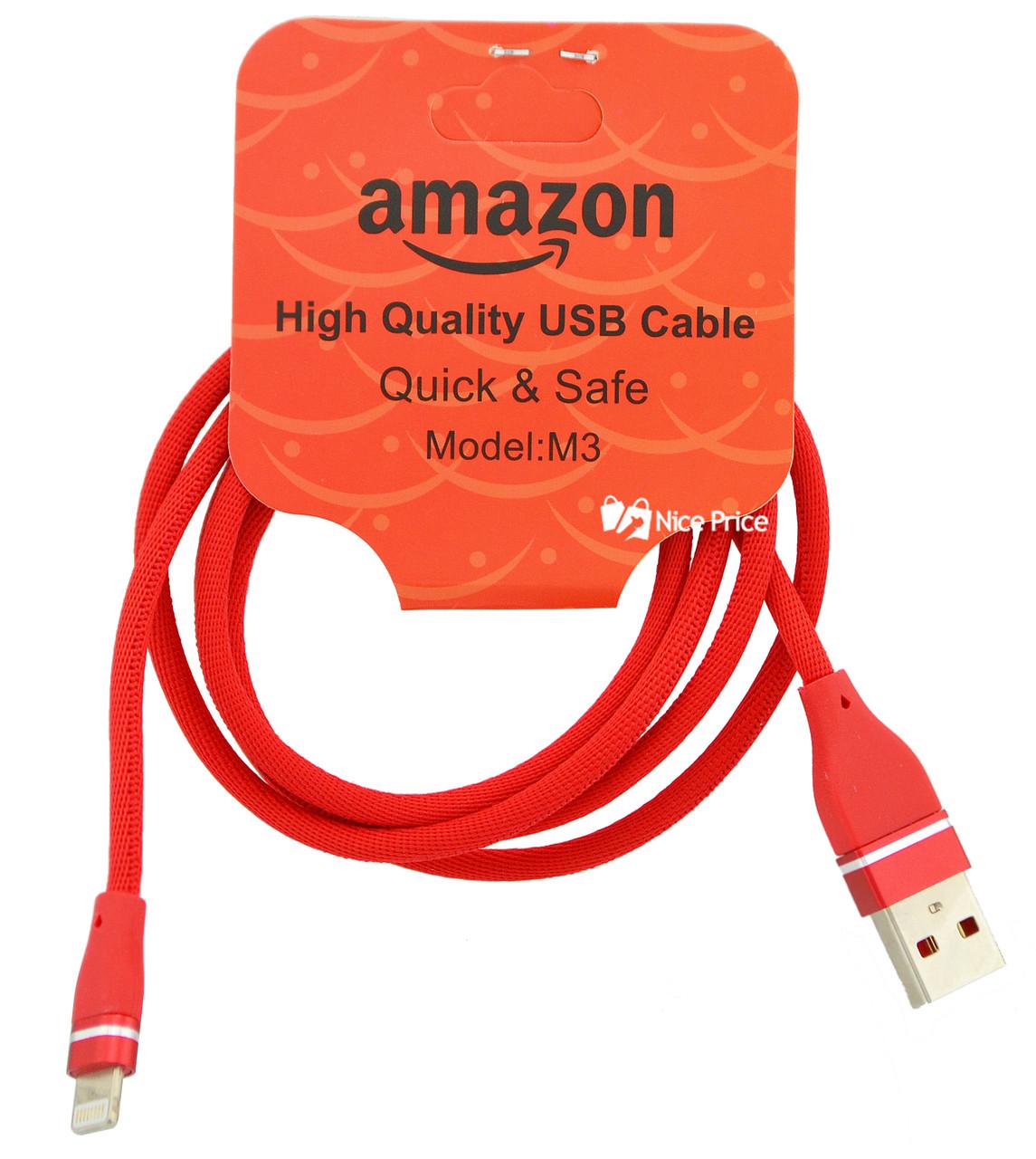 USB кабель для iPhone Lightning (кабель для зарядки айфона) 1 метр Amazon M3 (Микс цветов) (90441)