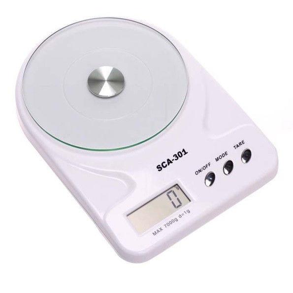 Кухонные электронные весы со стеклянной чашей SСА 301 5 кг + батарейки (белый)