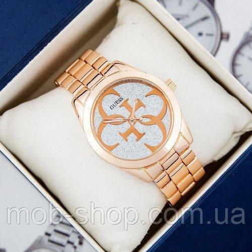 Стильний наручний годинник Guess 6990 Silver-Gold Pink