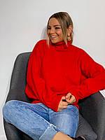 Женский яркий свитер. Женский свитер осень-весна красного цвета