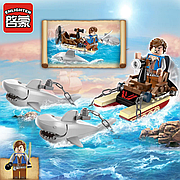 """Конструктор Brick 1302 """"Акулья упряжка"""", акулы, 45 деталей, 2 фигурки, в коробке"""