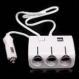 Автомобильный разветвитель тройник UKC 1506A + 2 USB 120W, фото 5