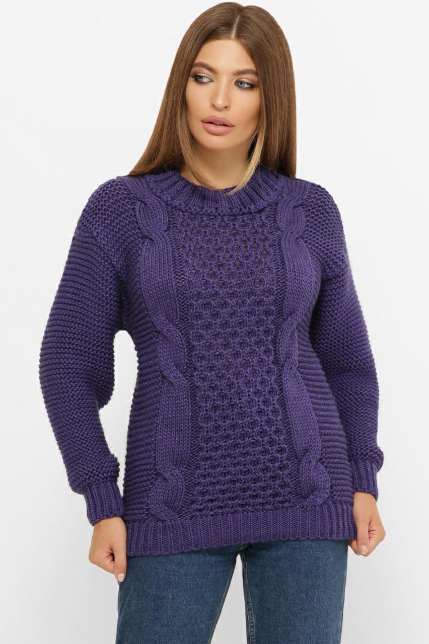 Свитер женский фиолетового цвета вязаный over size размер 44-50