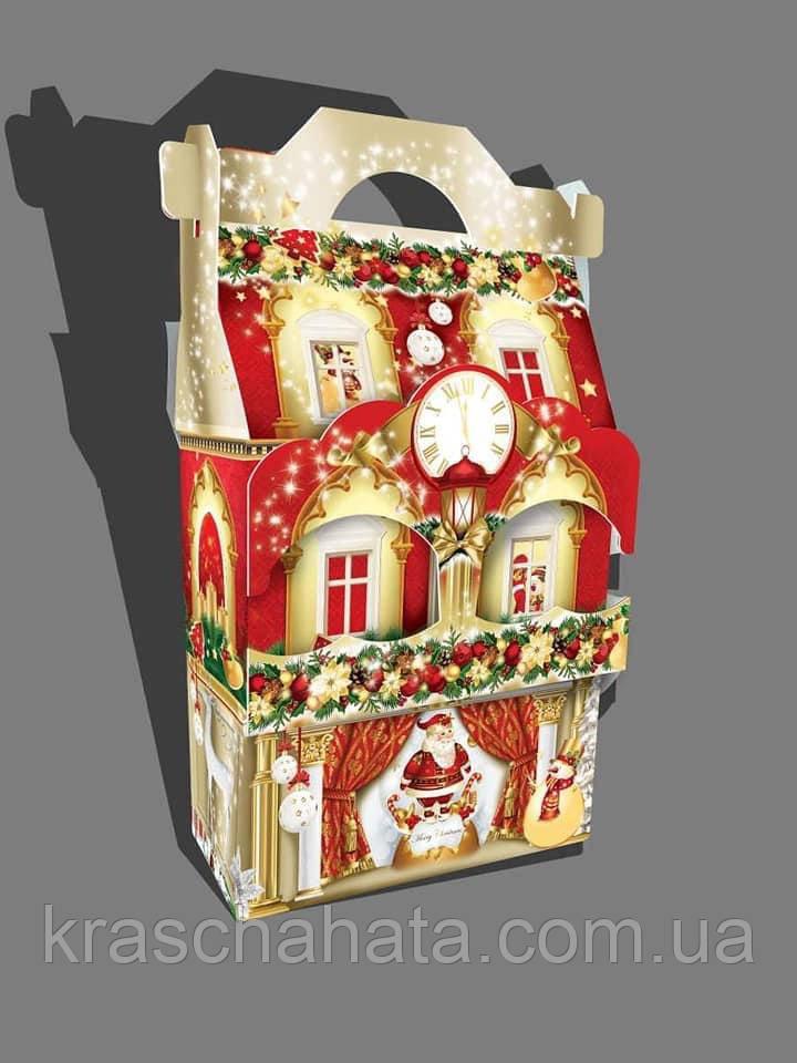 Сумочка новогодняя, Новогодний дворец, Картонная упаковка для конфет, 1500 грамм