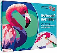 """Набор, техника акриловый живопись по номерам, """"Pink flamingo"""", ROSA START"""