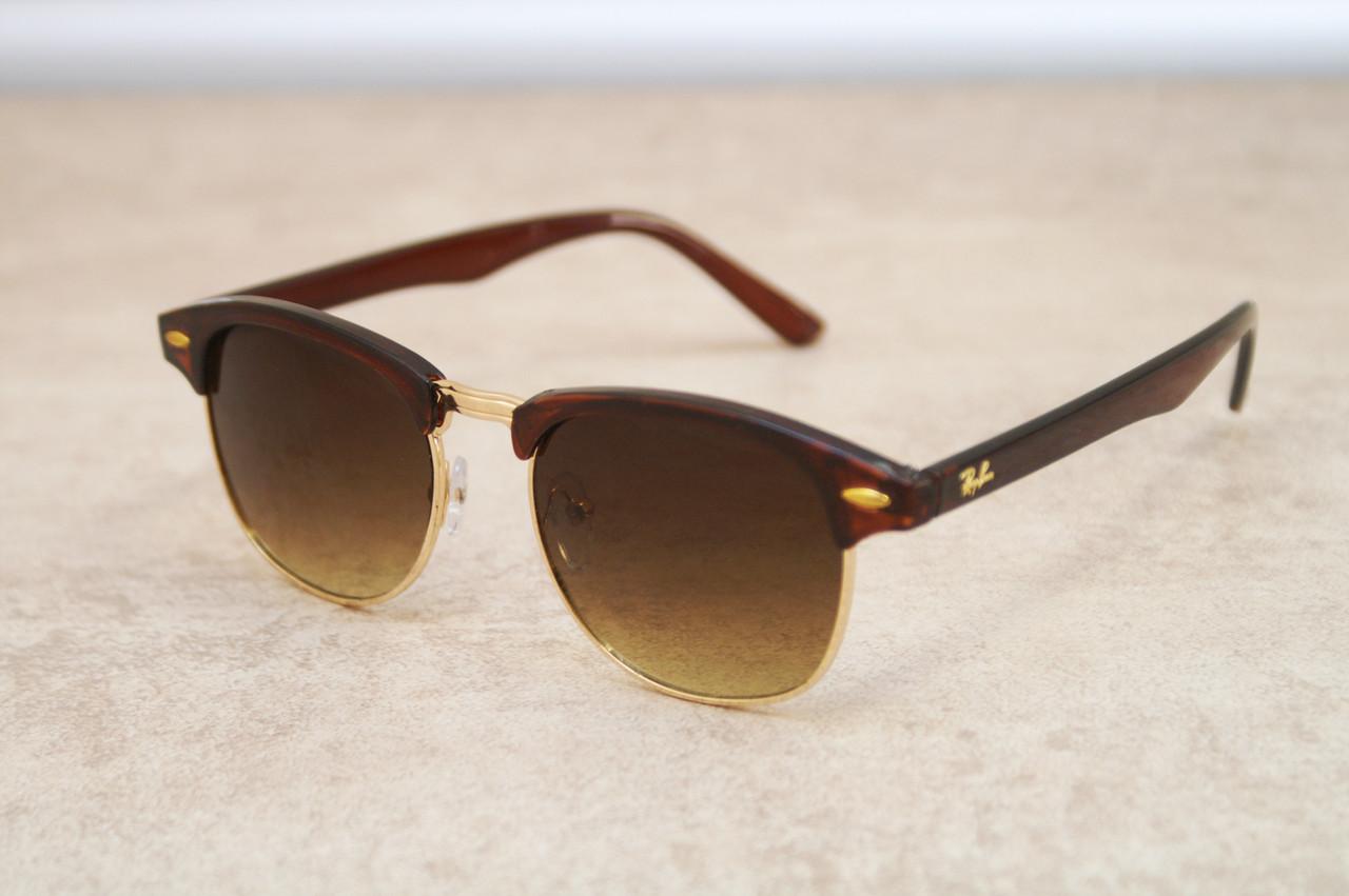 Солнцезащитные очки Ray Ban Clubmaster Клабмастер коричневые (реплика)