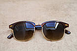 Солнцезащитные очки Ray Ban Clubmaster Клабмастер коричневые (реплика), фото 2