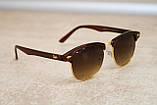 Солнцезащитные очки Ray Ban Clubmaster Клабмастер коричневые (реплика), фото 5