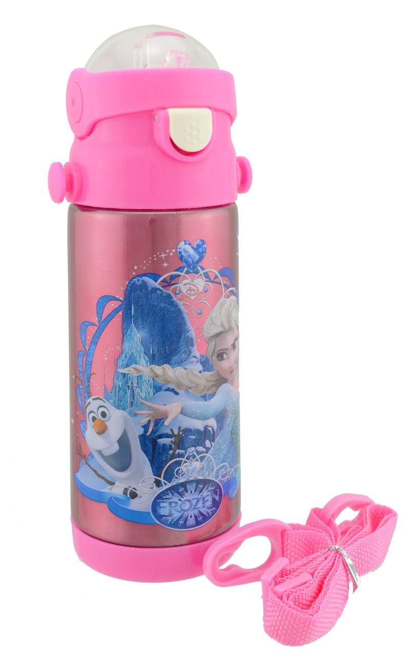 Термос детский с поилкой и шнурком на шею Disney 603 350 мл Frozen Розовый