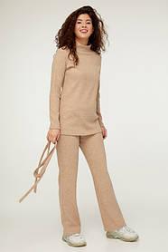 Женский трикотажный бежевый костюм  Размеры 44-54