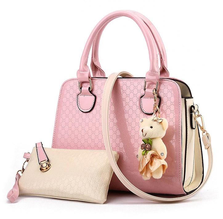 Стильная женская сумка Valenkuci с косметичкой и брелком Pink