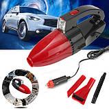 Автомобильный пылесос с фонарем Vacuum Cleaner красный, фото 3