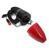 Автомобильный пылесос с фонарем Vacuum Cleaner красный, фото 7