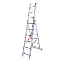 Лестница трехсекционная алюминиевая Laddermaster Sirius A3A6. 3x6 ступенек