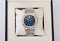 Мужские часы Patek Philippe Nautilus Blue AAA механические наручные на стальном браслете с автоподзаводом