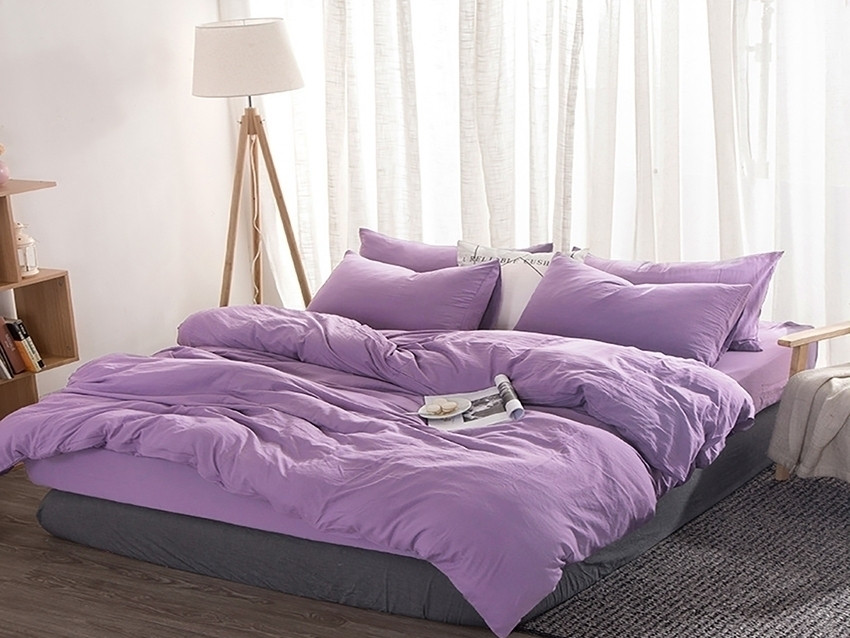 Двуспальный сиреневый комплект постельного белья из сатина