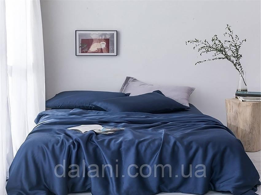 Двуспальный синий комплект постельного белья из сатина