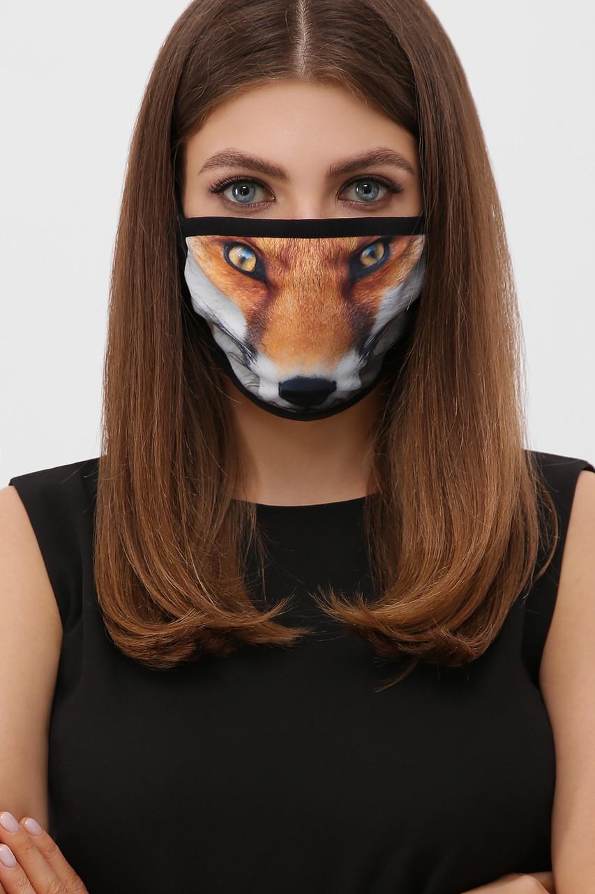 Защитная маска на лицо из ткани с принтом