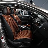 Накидки для передних сидений Алькантара Napoli Темно-коричневые 2 шт (700 215)