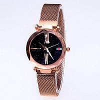 Часы женские классические Geneva QSF-002 с мерцающим циферблатом Cuprum-Black Shine