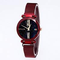 Часы женские классические Geneva QSF-002 с мерцающим циферблатом Red-Black Shine