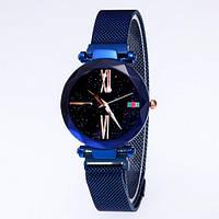 Часы женские классические Geneva QSF-002 с мерцающим циферблатом Blue-Black Shine