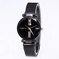 Часы женские классические Geneva QSF-002 Starry Sky с мерцающим циферблатом All Black Shine