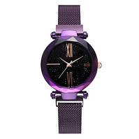 Часы женские классические Geneva QSF-002 с мерцающим циферблатом Purple-Black Shine