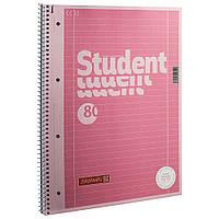 Тетрадь колледж-блок Brunnen А4 на спирали в линейку 80 листов 90 г/м2 обложка розовый металлик