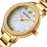 Часы женские элегантные классические Mini Focus MF0226L.03 Gold-White Diamonds