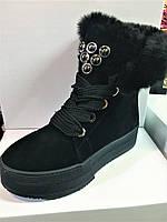 Женские зимние ботинки на платформе из натуральной замши на шнурках