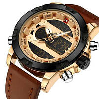 Часы кварцевые мужские Naviforce NF9097 с хронографом, секундомером и подсветкой дисплея Brown-Cuprum-Black
