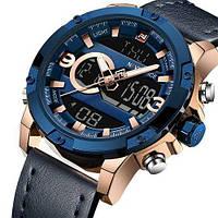 Часы кварцевые мужские Naviforce NF9097 с хронографом, секундомером и подсветкой дисплея Blue-Cuprum