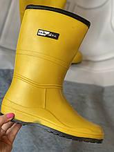 Яркие желтые резиновые сапоги высокие