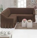 Чохол зі спідницею на кутовий диван та крісло Баклажан Evibu Туреччина 50108, фото 4