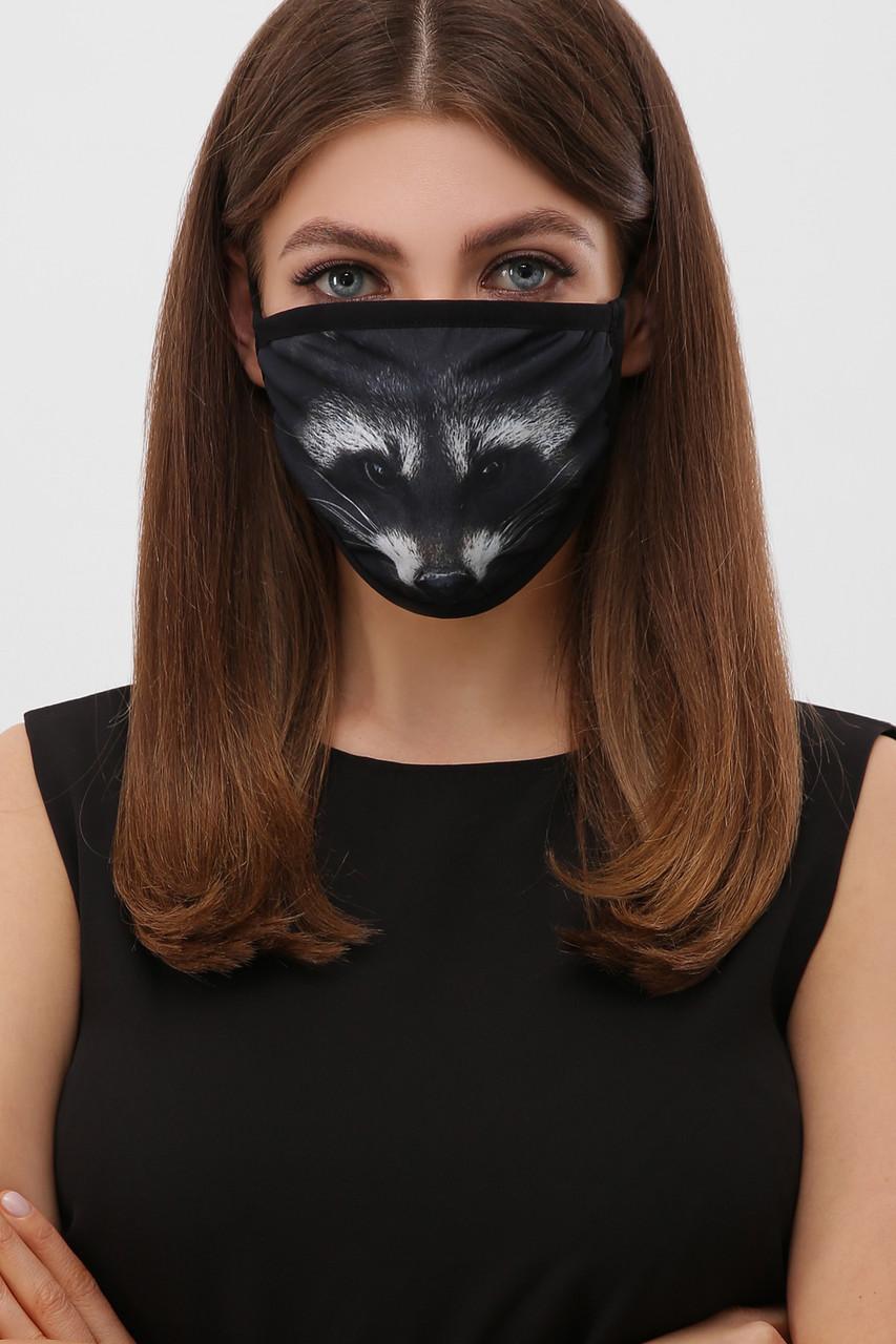 Маска черная для защиты лица тканевая с рисунком