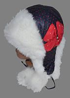 """Шапка зимняя  """"Горошек"""" синего цвета в красный горошек ,  с меховой отделкой  , для девочки (подросток)."""